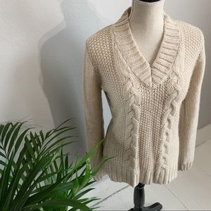ANDREA JOVINE | Cream V-Neck Sweater #00004